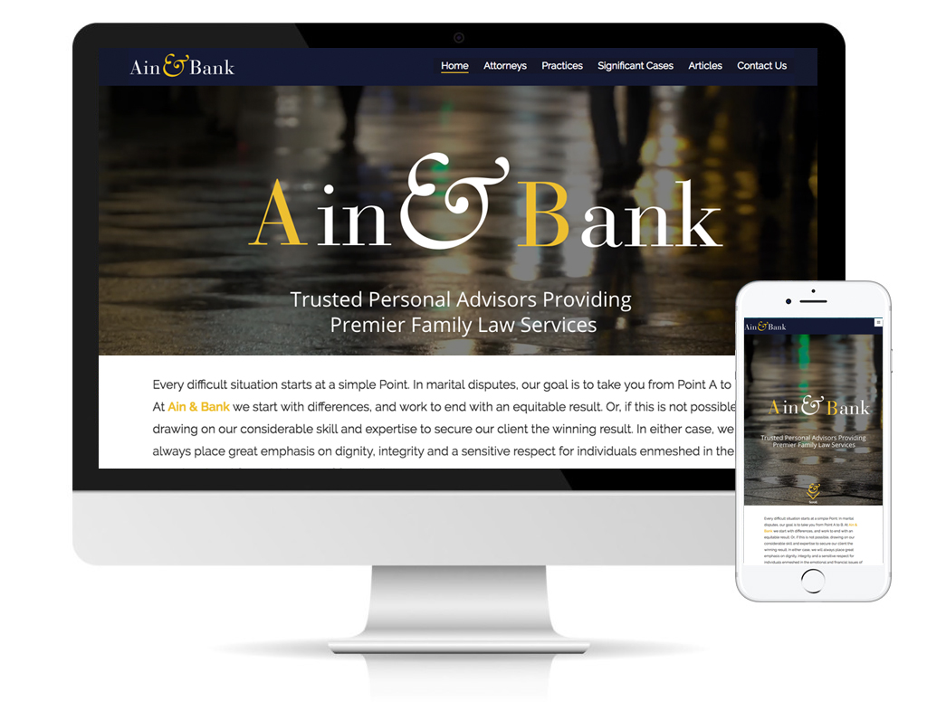 Ain & Bank, law firm website by DLS Design