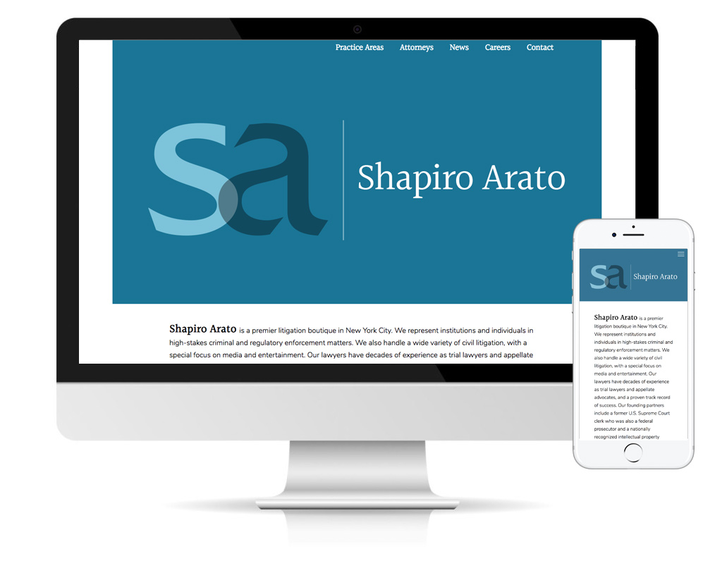 Shapiro Arato Bach law firm website designed by DLS Design